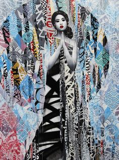 Some beautiful artwork by the street artist HUSH from his show at Corey Helford gallery in downtown Los Angeles.  This is a mixed media piece consisting of spray paint, acrylic, stencil and good old fashioned tags. 2016.