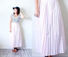 Vintage // peachy maxi skirt // light pink tiny by BeigeVintageCo, $25.00