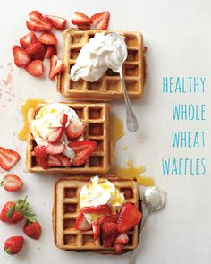 These waffles are so light and fluffy, so no one will believe they're made with all whole-wheat flour! Sliced strawberries and Greek yogurt make a tasty topping that's also good for you.