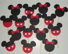 24 Mickey and Minnie Cupcake Toppers. Mickey Mouse Birthday, Minnie Mouse Birthday, Disney Party Decor, Disney Baby Shower,