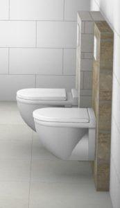 """Verschil tussen een """"standaard"""" inbouwreservoir en toilet, en een ondiep inbouwreservoir met compacte toiletpot."""