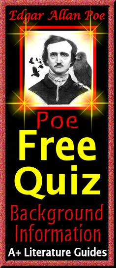 Background information exercise and multiple choice quiz on Edgar Allan Poe. FREE!