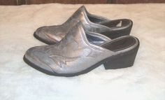 Gomax Sz 8 Silver Metallic Cowboy 17 Western Style Pointed Toe Mules #Gomax #Mules