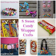 8 Sweet Candy Wrapper Crafts Craft Ideas Recycled Upcycled DIY Crafts and Ideas featured on CraftGossip . Candy Crafts, Fun Diy Crafts, Recycled Crafts, Handmade Crafts, Sewing Crafts, Paper Crafts, Geek Crafts, Sweet Wrappers, Candy Wrappers