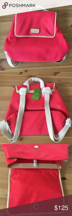 Kate Spade new pink Neko Kennedy nylon backpack. This is a brand new product with tags. It is the Kate Spade Geranium Neko Kennedy Park Nylon Backpack with Tan Leather trim. kate spade Bags Backpacks