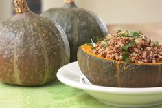 Stuffed Kabocha Squash with Quinoa & Chickpeas. This stuffed squash is substantial yet not heavy, thanks to the light and crunchy quinoa. This tiny grain provides complete protein – serve some sautéed kale or Swiss chard on the side, and you've got the perfect meal for a cool autumn evening.