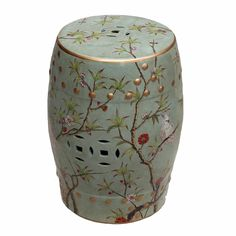 Our Famille Rose Bird Floral Motif Green Garden Stool makes a stunning accent piece indoors or out. Adorned with beautiful birds, intricate cutouts and a floral scene this stool can be used for extra seating on the patio, an accent table for a sofa or a functional side table for the bed or bath.