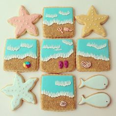 Beach, sea, sand, sun and starfish decorated sugar cookies by Askanam, available on Etsy Summer Cookies, Fancy Cookies, Iced Cookies, Cute Cookies, Royal Icing Cookies, Cookies Et Biscuits, Cupcake Cookies, Square Cookies, Galletas Cookies