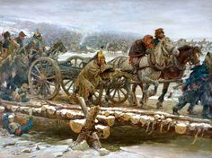 French Dragoons escape across a pontoon bridge from pursuing Cossacks