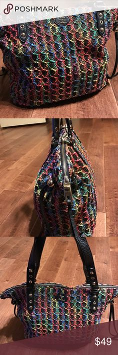 Juicy Couture 💙💚💜💛 Colorful weave pattern with shimmer threads throughout. Black handles with gold hardware. Bag in excellent condition inside and out. Fabric in interior zipper pocket is torn but could be mended. Larger sized Juicy Couture Bags Shoulder Bags