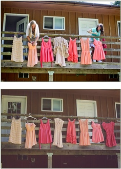 mismatched bridesmaids dresses in peach, coral, and blush. Aubrey Joy Photography: Stephen and Brittany (Seattle Wedding Photographer, Aubrey Joy)