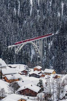 Train/bridge  -  Rhätische Bahn on the Viadukt of Langwies, Graubünden, Switzerlandby ehutphoto