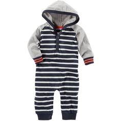 Baby Boy OshKosh B'gosh Hooded Striped Coverall ($20) ❤ liked on Polyvore featuring baby