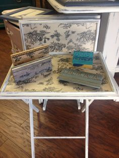 Set of 4 TV Trays, painted with Chalk Paint® in Old White and Graphite, decoupaged with printed tissue paper, Annie Sloan Craqueleur, Clear and Dark Waxed by TLC Design Studio.