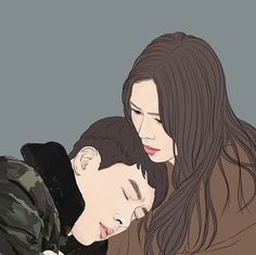 Anime Love Couple, Couple Art, Best Kdrama, Minimalist Drawing, Weird Words, Asian Love, Hyun Bin, Portrait Illustration, Cute Relationships