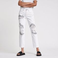 White embellished ripped boyfriend jeans