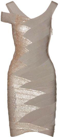 HERVÉ LÉGER Sequin-embellished bandage dress - love the sequins! Pretty Dresses, Sexy Dresses, Beautiful Dresses, Evening Dresses, Short Dresses, Bandage Dresses, Love Fashion, Fashion Beauty, Womens Fashion
