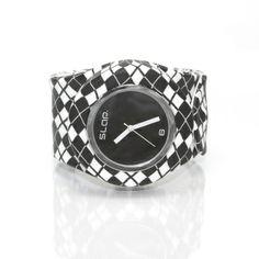 Black/White Argyle & Black Dial Slap Watch