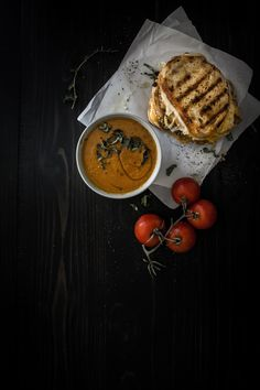 Roasted Tomato Basil Soup<br>and Grilled Cheese</br>