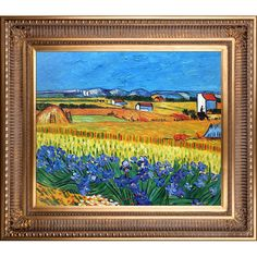 La Pastiche Original 'Harvest with Irises Collage' Hand-painted Framed Art