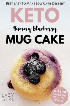 Quick and easy keto blueberry mug cake recipe ready in just two minutes and using a handful of ingredients is one of my favorites! It's a quick, low carb, single-serving dessert or treat. Single Serve Desserts, Low Carb Desserts, Easy Desserts, Low Carb Recipes, Dessert Recipes, Dessert Ideas, Cake Recipes, Steak Recipes, Brownie Recipes