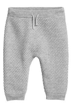 Spodnie w strukturalny splot - Szary melanż -   H&M PL 1
