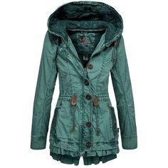 Khujo Damen Übergangsjacke Molly Damenjacke Übergangs Sommer Jacke... ❤ liked on Polyvore featuring outerwear, coats, jackets, green parka coat, green coat, parka coat e green parka
