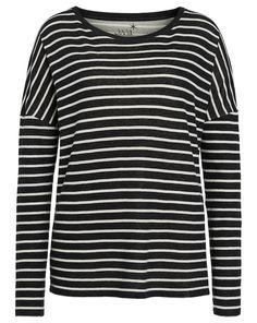 JUVIA Shirt mit Streifen - schwarz/elfenbein  Jetzt auf kleidoo.de bestellen!  #kleidoo #fashion #trend #streifen #schwarz #elfenbein #shirt #juvia