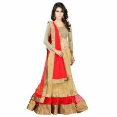 Capture the true essence of spring with this beige and red color embroidered net choli skirt. The resham and zari work seems to be chic and ideal for any function. Net Lehenga, Lehenga Choli, Saree, Lehenga Wedding, Fashion Forever, Red Fabric, Indian Outfits, Fashion Beauty, Gowns