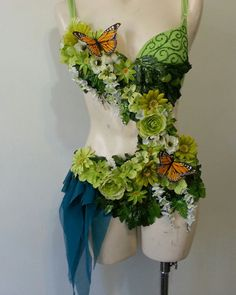 Forest Fairy Monokini- Rave Outfit, Gold Spikes, Rhinestone Clusters
