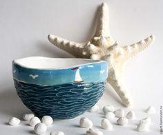 """Купить Комплект пиал """"Запах моря"""" - тёмно-бирюзовый, море, волны, керамическая…"""