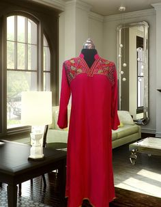 Reddish Pink with Front Embroidery Malai Linen Kurta