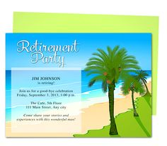 Tropical Oasis Retirement Party Invitation Templates. Use with Word, OpenOffice, Publisher, Apple iWork Pages, Easy to edit and print design.