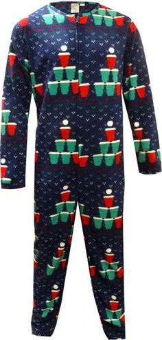 Beer Pong Christmas Tree One Piece Union Suit Pajama