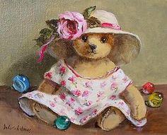 Antique Superb Deborah Jones (1921-2012) Oil Painting Of A Teddy Bear - The Rose Frock