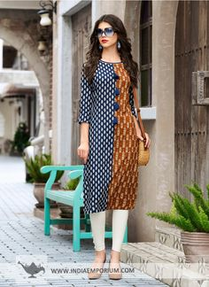 Order Cotton Printed Flared Designer Kurti Collection in bulk at lowest wholesale prices. We are well known Kurtis Dealer in Surat Churidar Designs, Kurti Neck Designs, Blouse Designs, Simple Dresses, Casual Dresses, Stylish Office Wear, Kurta Patterns, Indian Designer Wear, Pakistani Dresses