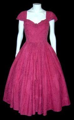 b27b7a2a4670 raspberry red full skirt dress vintage Cap Dress