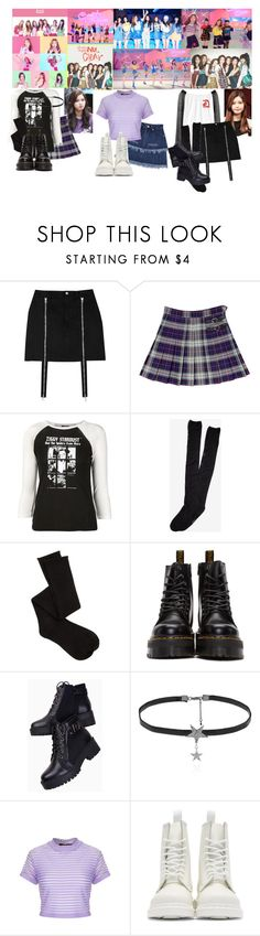 """""""CLC - No Oh Oh MV"""" by soyee-fangirl ❤ liked on Polyvore featuring R13, Express, Charlotte Russe, Dr. Martens, Love Rocks and Motel"""