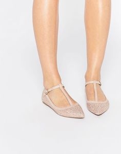 Oasis | Oasis T Bar Point Sparkle Flat Shoe at ASOS
