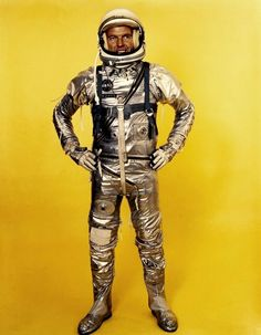 Astronaut Gordon Cooper wears his Project Mercury spacesuit. He became the astronaut to sleep in space during the Mercury 9 mission in He also flew on the Gemini 5 flight in Cosmos, Gordon Cooper, Project Mercury, John Glenn, Space Fashion, Vintage Space, Space Race, Space Program, Space Shuttle