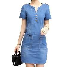 2016 Denim Dress Women Plus Size Short Sleeve Blue Denim Jeans Dresses For Women Ladies V Neck Brand Casual Party Dress Denim Shirt Dress, Denim Outfit, Blouse Dress, Denim Jeans, Casual Dresses, Casual Outfits, Fashion Outfits, Autumn Fashion Grunge, Shweshwe Dresses