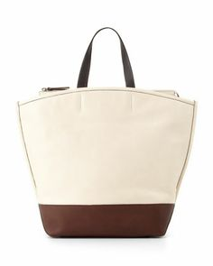 Northeast Colorblock Tote Bag, White/Brown by Brunello Cucinelli at Neiman Marcus.