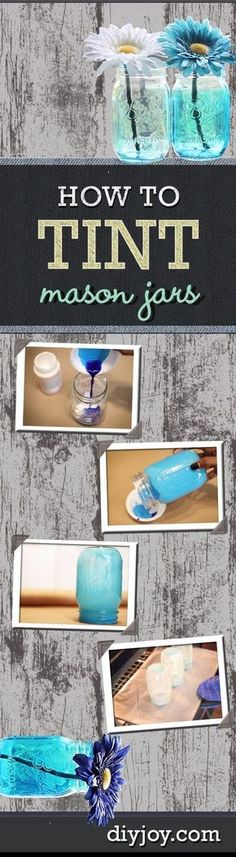 Easy DIY Ideas | How To Tint Mason Jars | Mason Jar Crafts and DIY Projects by DIY JOY: