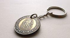 Coin keychain Egypt Coin charm Tutankhamun Egyptian by CoinStories