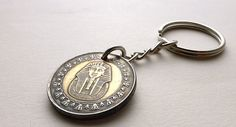 Coin keychain Egypt Coin charm Tutankhamun Egyptian by CoinStories