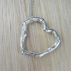 Twig Heart Necklace Sterling Silver by PassionateJewelry on Etsy, $40.00