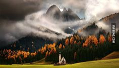 An Italian church in the middle of fall