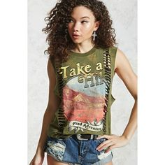 Forever21 Take A Hike Graphic Muscle Tee (24 AUD) ❤ liked on Polyvore featuring tops, forever 21 tops, ribbed top, graphic print top, graphic tops and ribbed tank tops