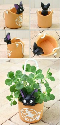 Cats Toys Ideas - Kiki's Delivery Service Jiji Planter - Check it out! - Ideal toys for small cats Geek Decor, Studio Ghibli, Clay Crafts, Diy And Crafts, Geek Crafts, Deku Tree, Kiki's Delivery Service, Kiki Delivery, Ideal Toys