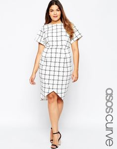 Image 1 of ASOS CURVE Asymmetric Wiggle Dress In Grid Check Print